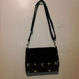 Initials inc black and white floral purse